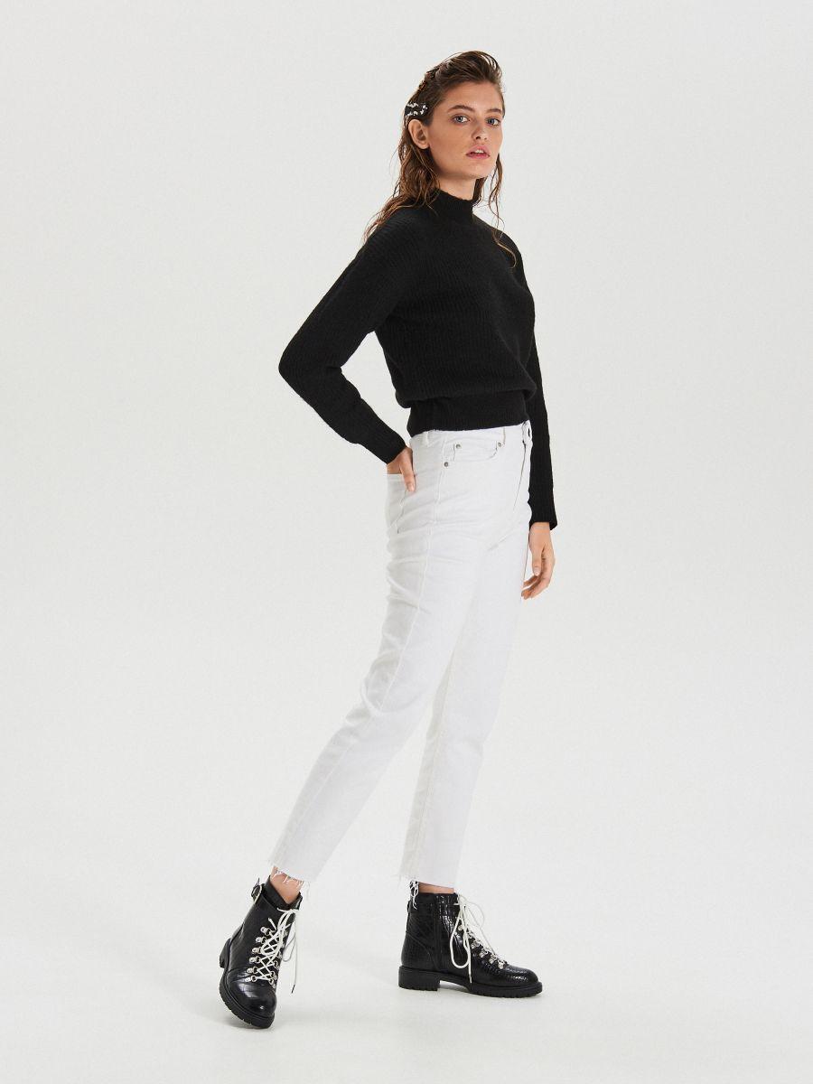 Białe jeansy straight - BIAŁY - XD947-00J - Cropp - 1