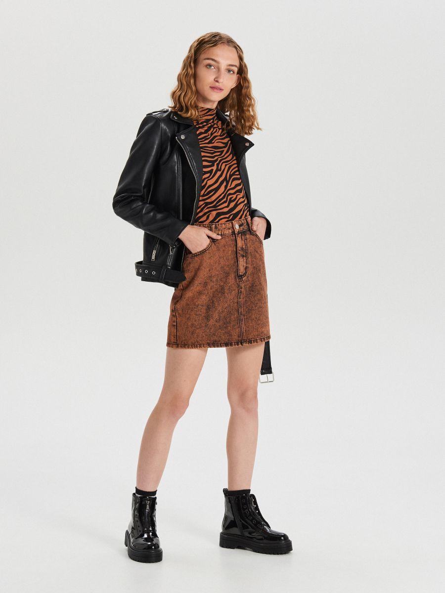 Jeansowa mini spódnica  - POMARAŃCZOWY - XF622-28X - Cropp - 2