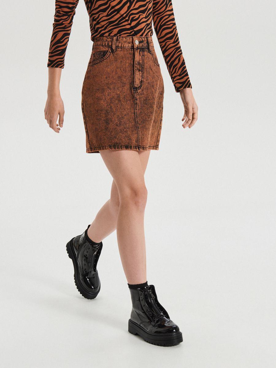 Jeansowa mini spódnica  - POMARAŃCZOWY - XF622-28X - Cropp - 3