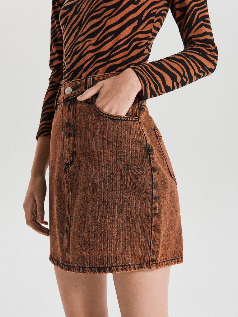 Jeansowa mini spódnica  - POMARAŃCZOWY - XF622-28X - Cropp - 4