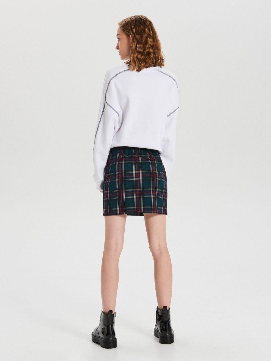 Spódnica mini w kratę - KHAKI - XI741-79X - Cropp - 5