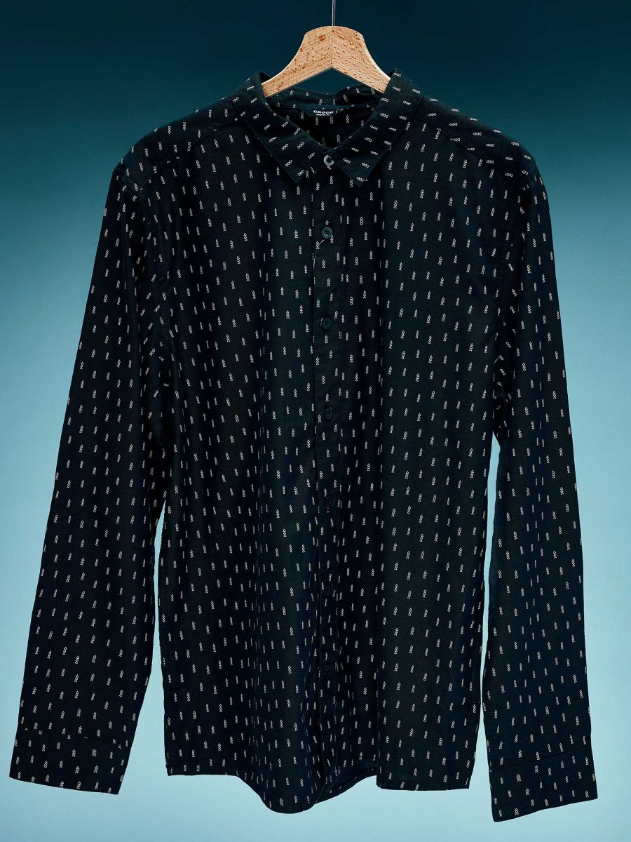 Koszula z mikronadrukiem światecznym all over - ZIELONY - XK011-77X - Cropp - 1