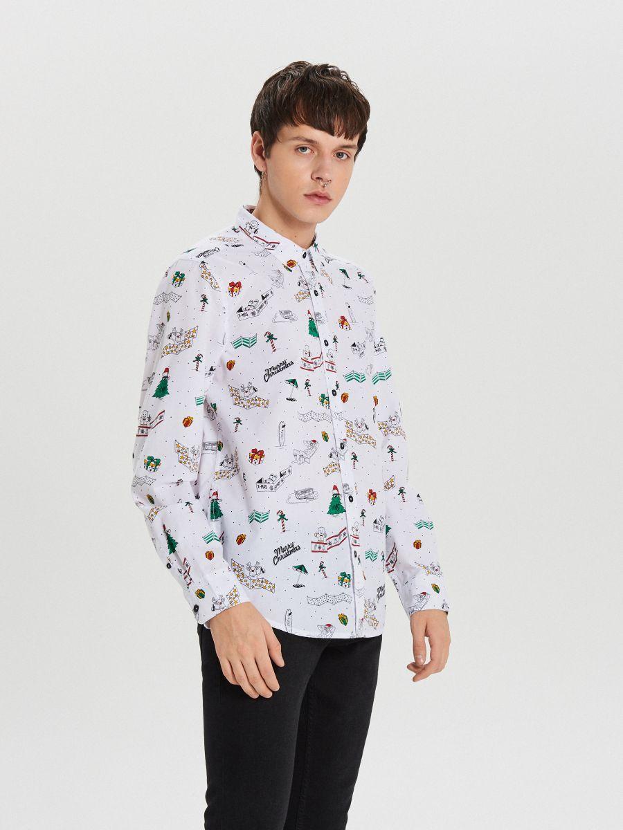 Świąteczna koszula all over - BIAŁY - XK012-00R - Cropp - 1