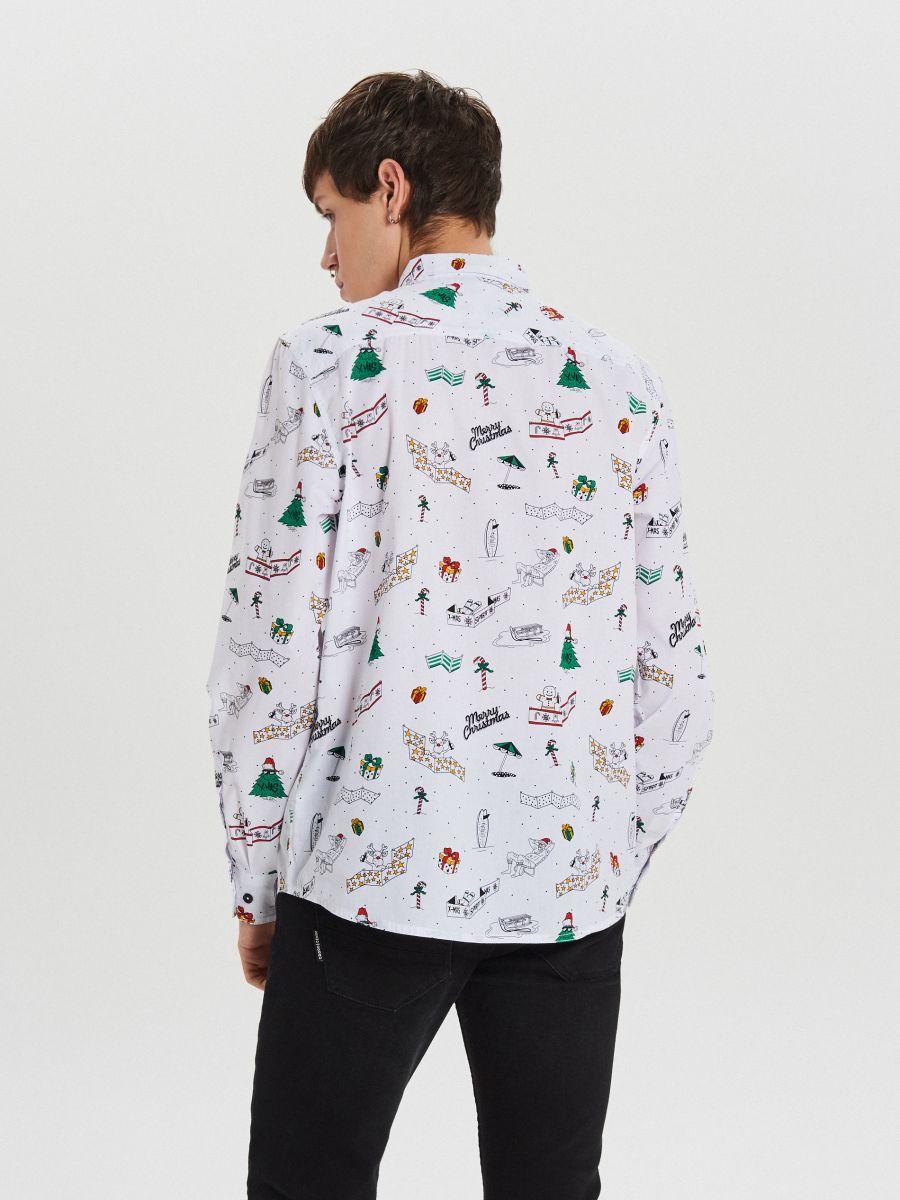 Świąteczna koszula all over - BIAŁY - XK012-00R - Cropp - 4