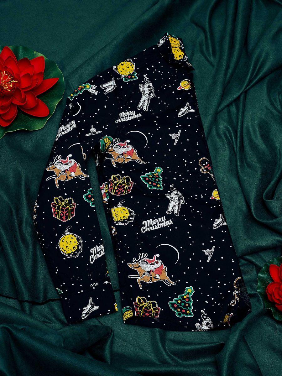 Świąteczna koszula all over - CZARNY - XK012-99X - Cropp - 1