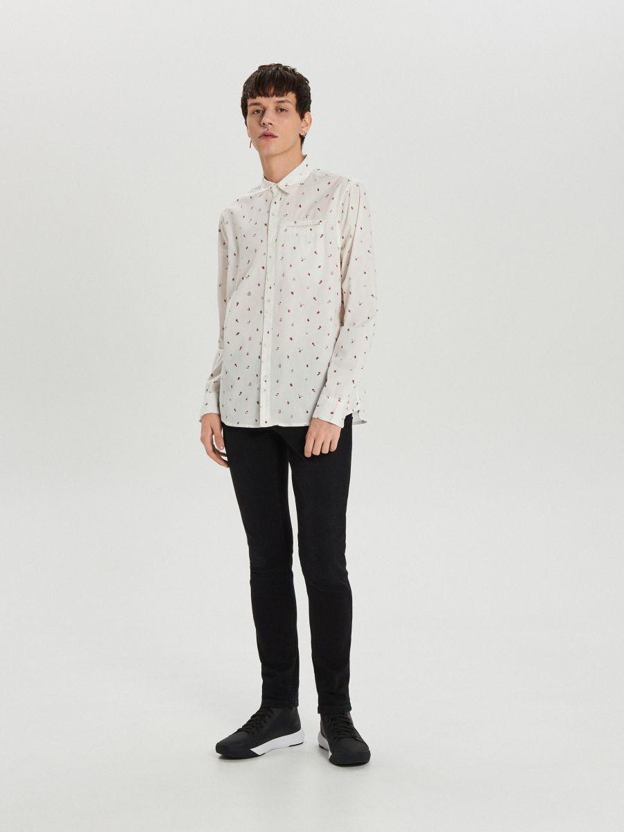Świąteczna koszula all over - BIAŁY - XK013-00R - Cropp - 1