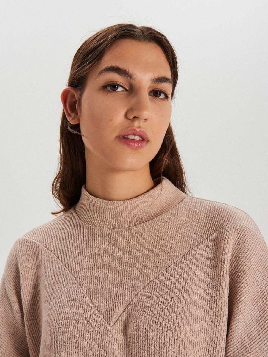 Bluza z półgolfem - KREMOWY - XL212-02X - Cropp - 3