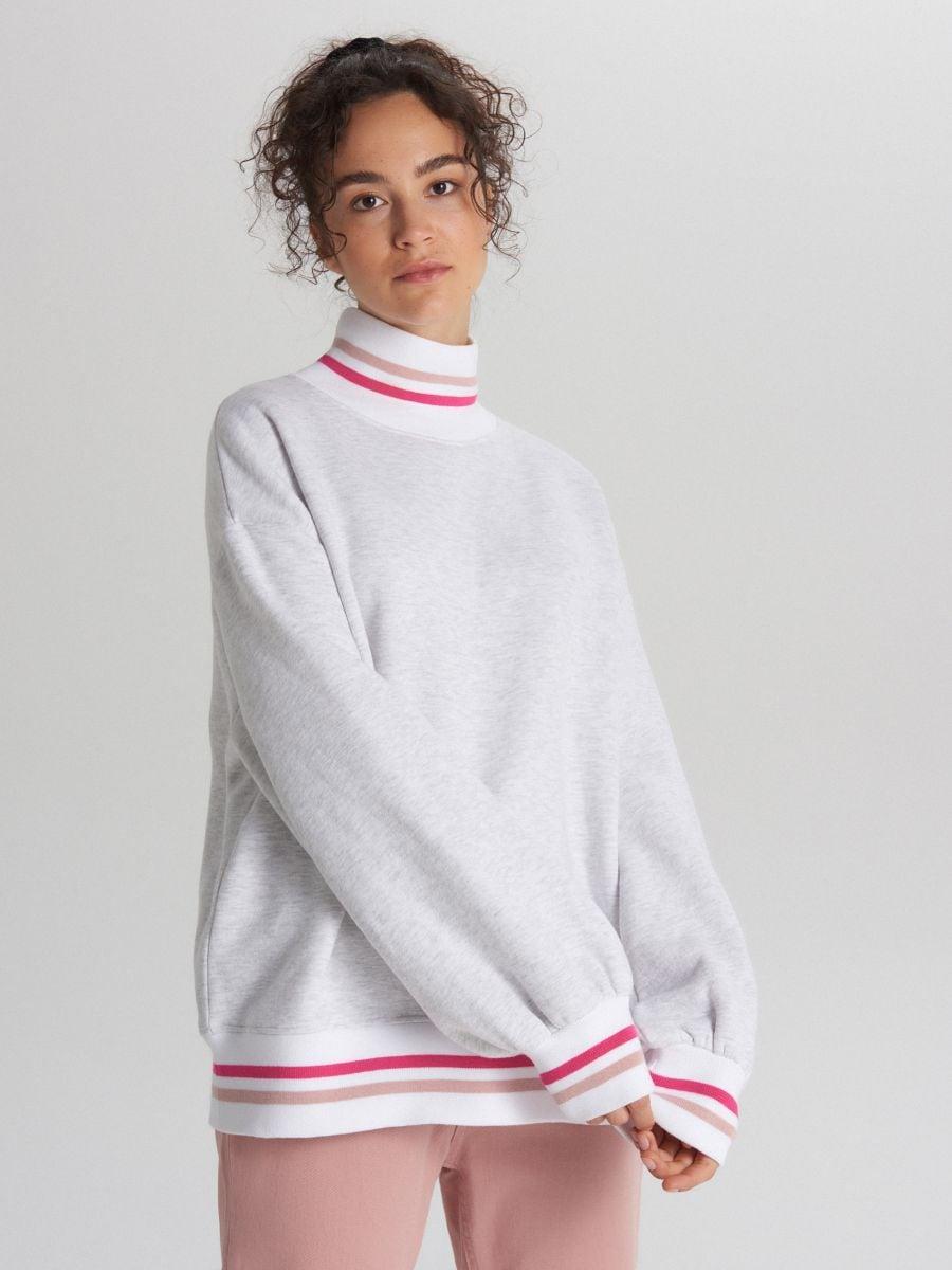 Bluza oversize z kolorowymi paskami - JASNY SZARY - XL213-09M - Cropp - 1
