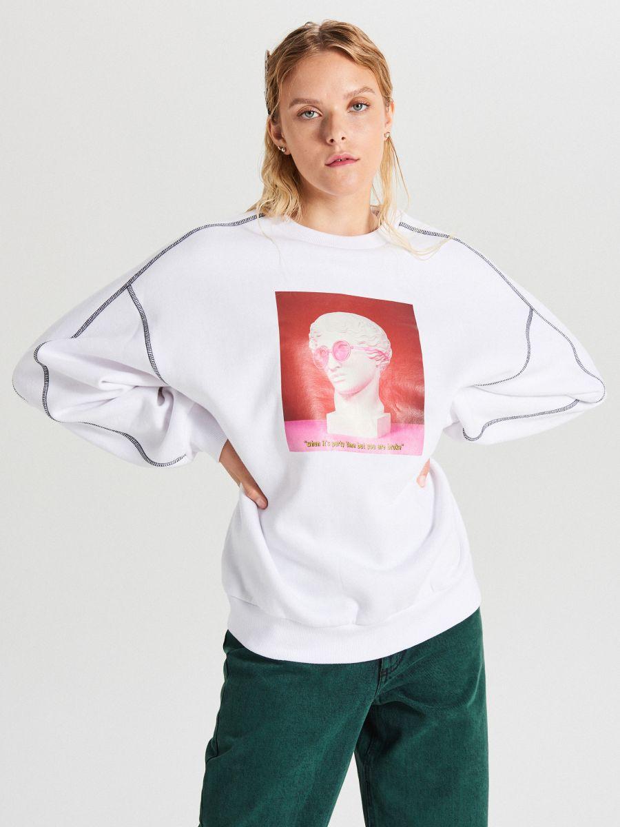 Bluza z nadrukiem - BIAŁY - XL214-00X - Cropp - 1