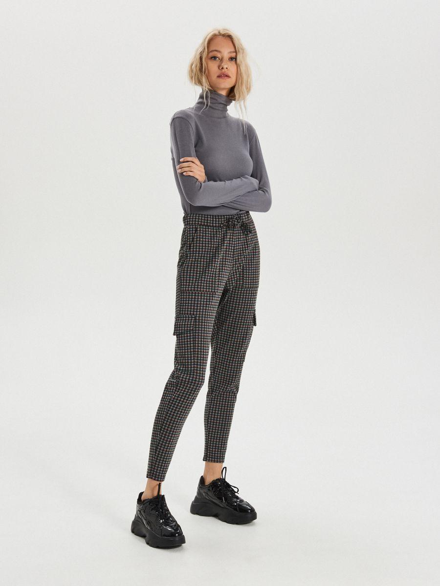 Spodnie jogger w drobną kratkę - KHAKI - XO709-78X - Cropp - 2