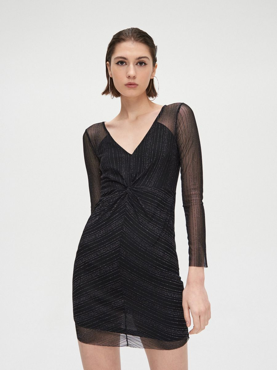 Sukienka mini z metalizowaną nitką - CZARNY - XQ368-99X - Cropp - 1