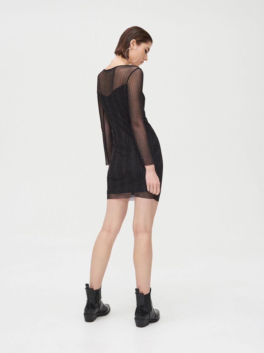 Sukienka mini z metalizowaną nitką - CZARNY - XQ368-99X - Cropp - 4