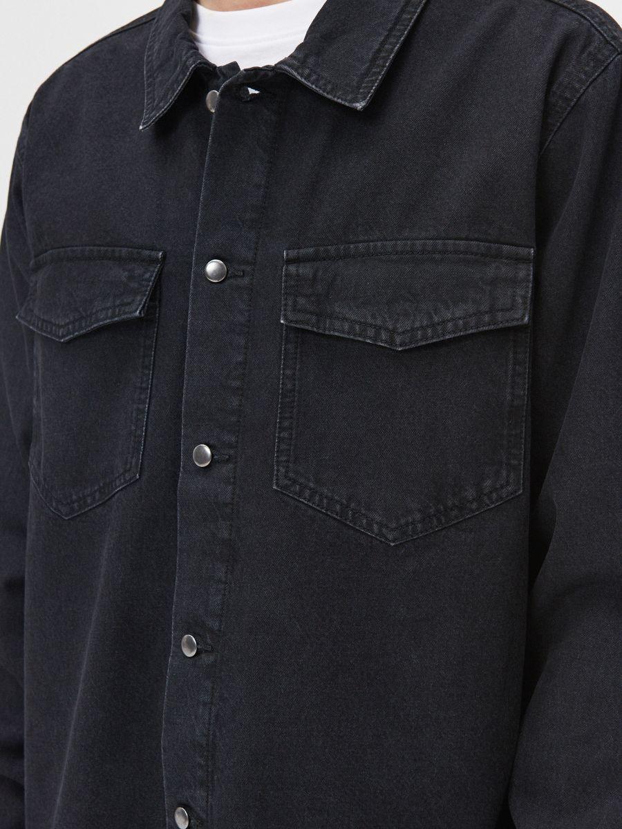 Bawełniana koszula  - CZARNY - XR131-99X - Cropp - 3