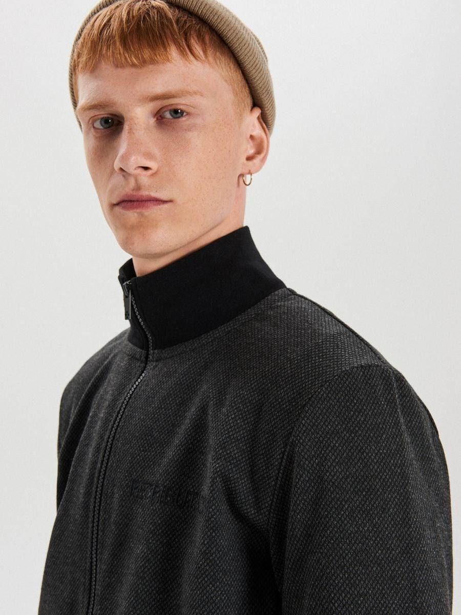 Rozpinana bluza z haftem - CZARNY - XS660-99X - Cropp - 3