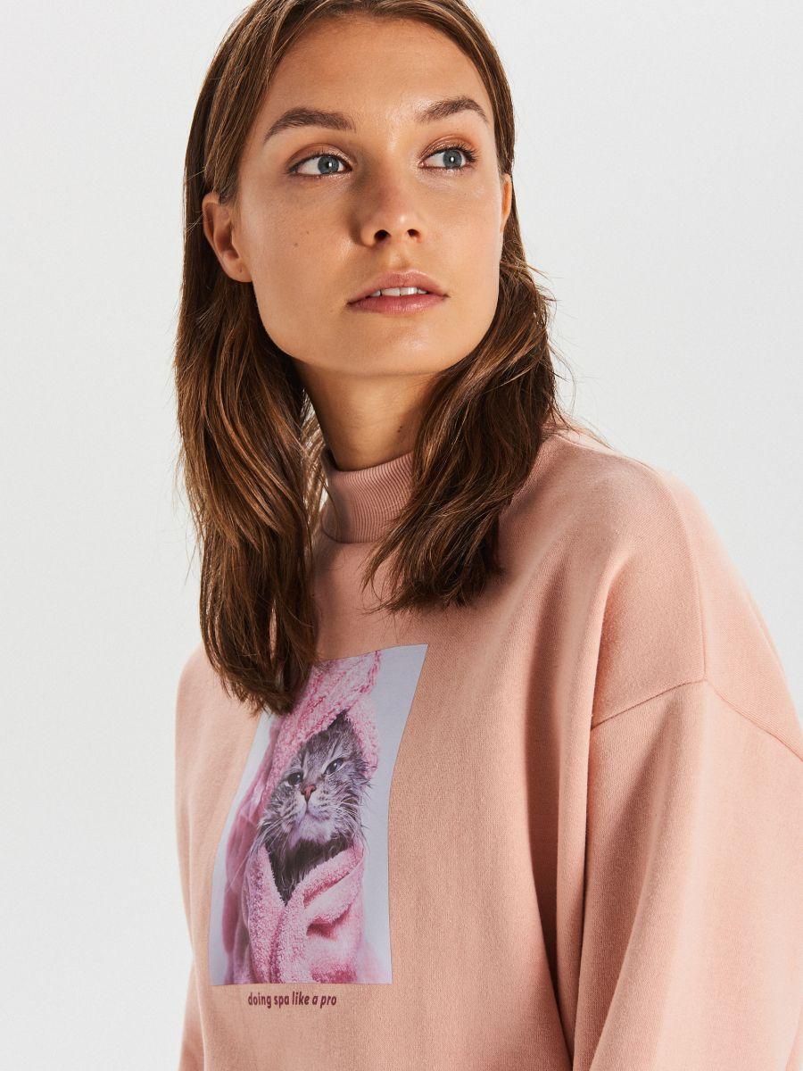 Bluza z nadrukiem - RÓŻOWY - XT016-03X - Cropp - 2
