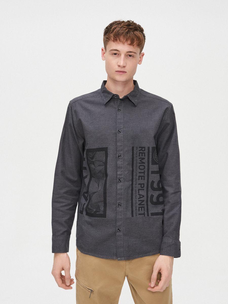 Koszula comfort melanż - SZARY - XX222-90M - Cropp - 1