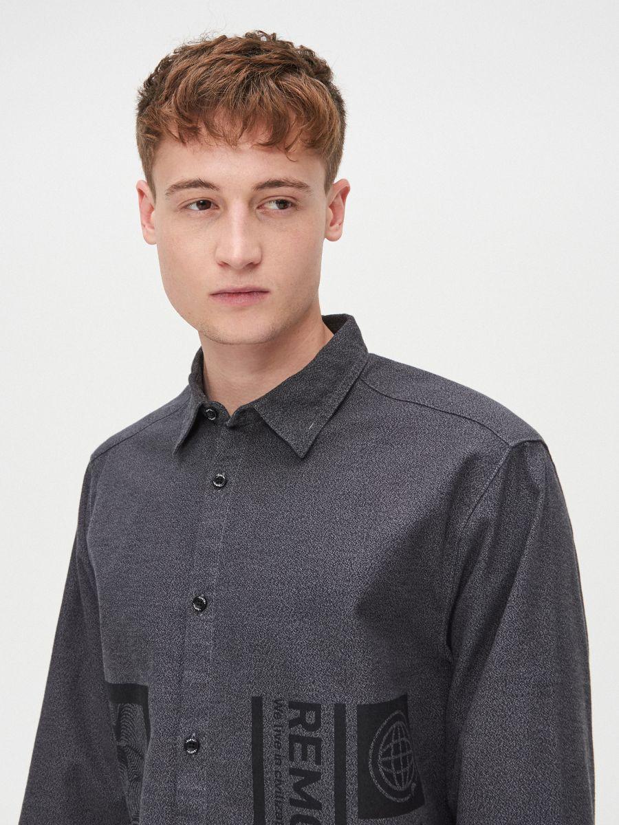 Koszula comfort melanż - SZARY - XX222-90M - Cropp - 3
