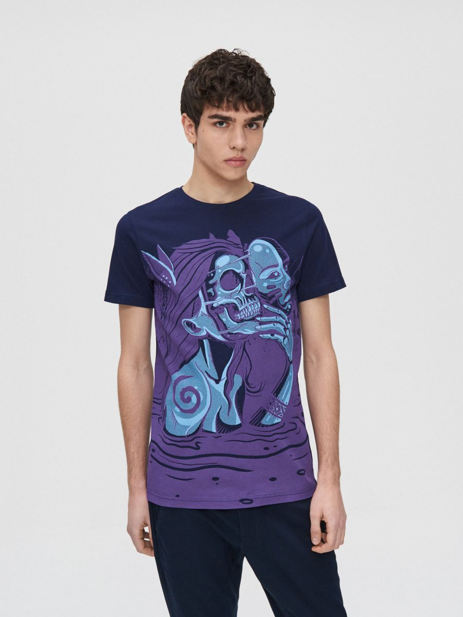 Koszulka z ilustracją - GRANATOWY - XZ377-59X - Cropp - 2