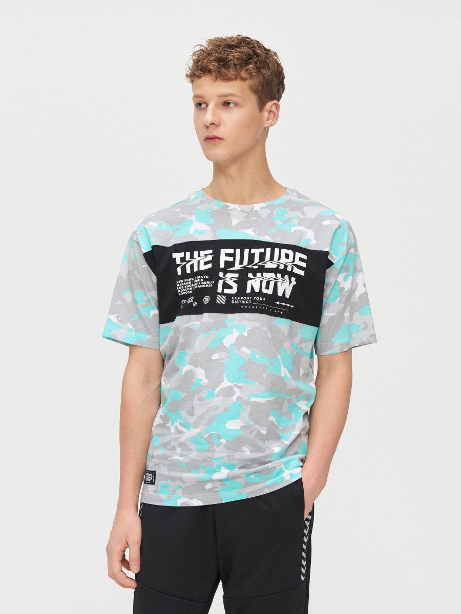 Koszulka moro z napisem - BIAŁY - XZ384-00X - Cropp - 1