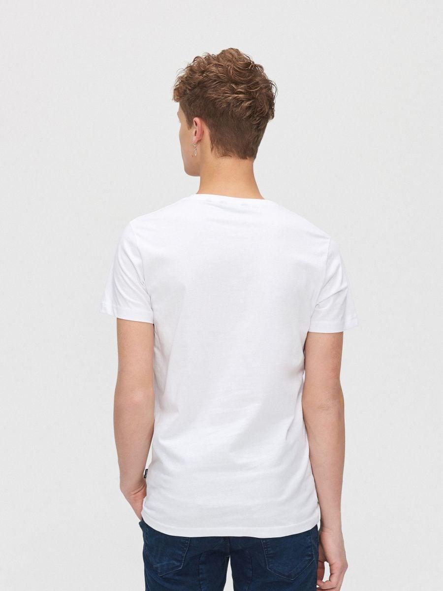 Koszulka z kolorowym nadrukiem - BIAŁY - XZ393-00X - Cropp - 3