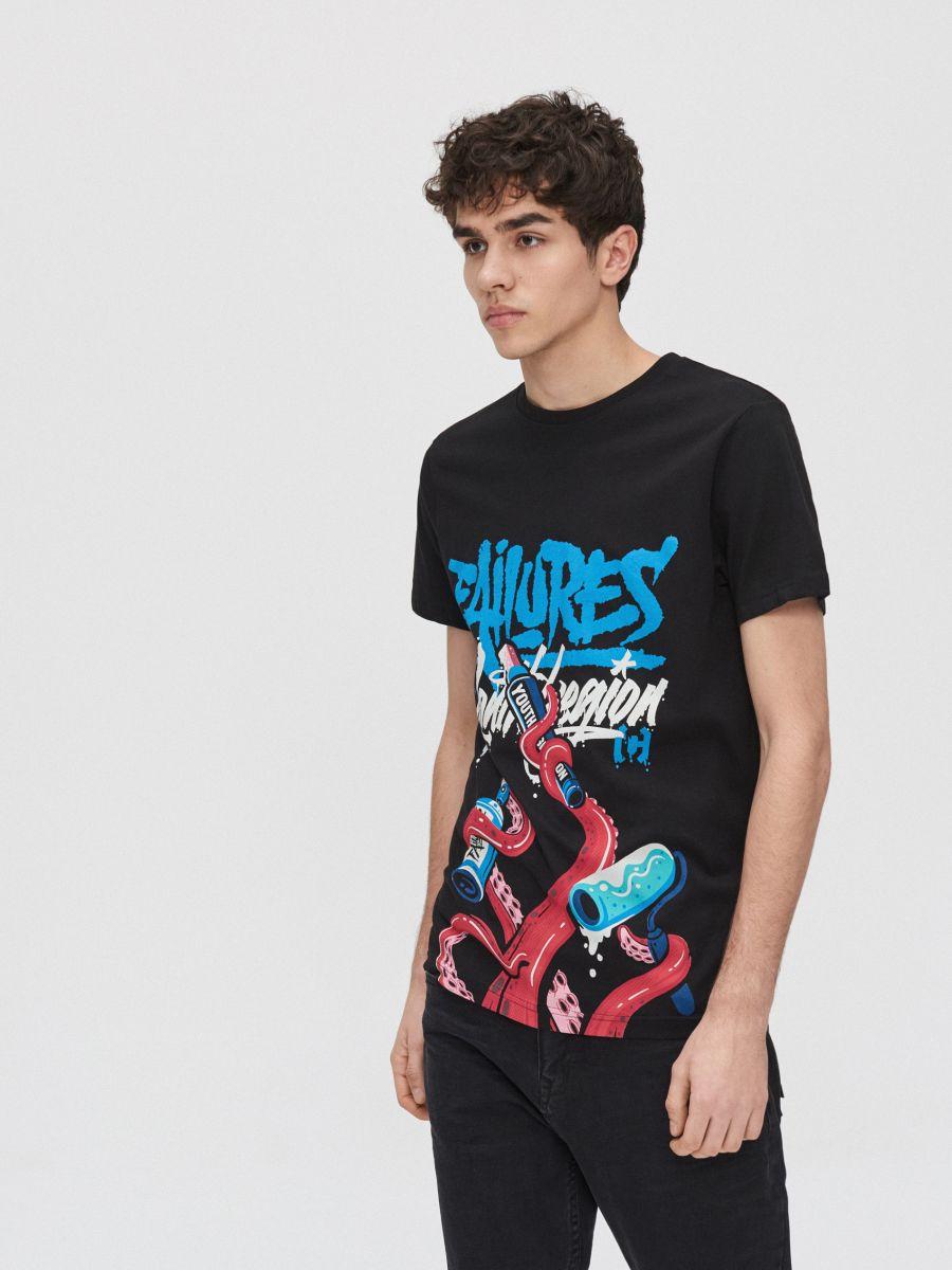 Koszulka z grafiką - CZARNY - XZ411-99X - Cropp - 2