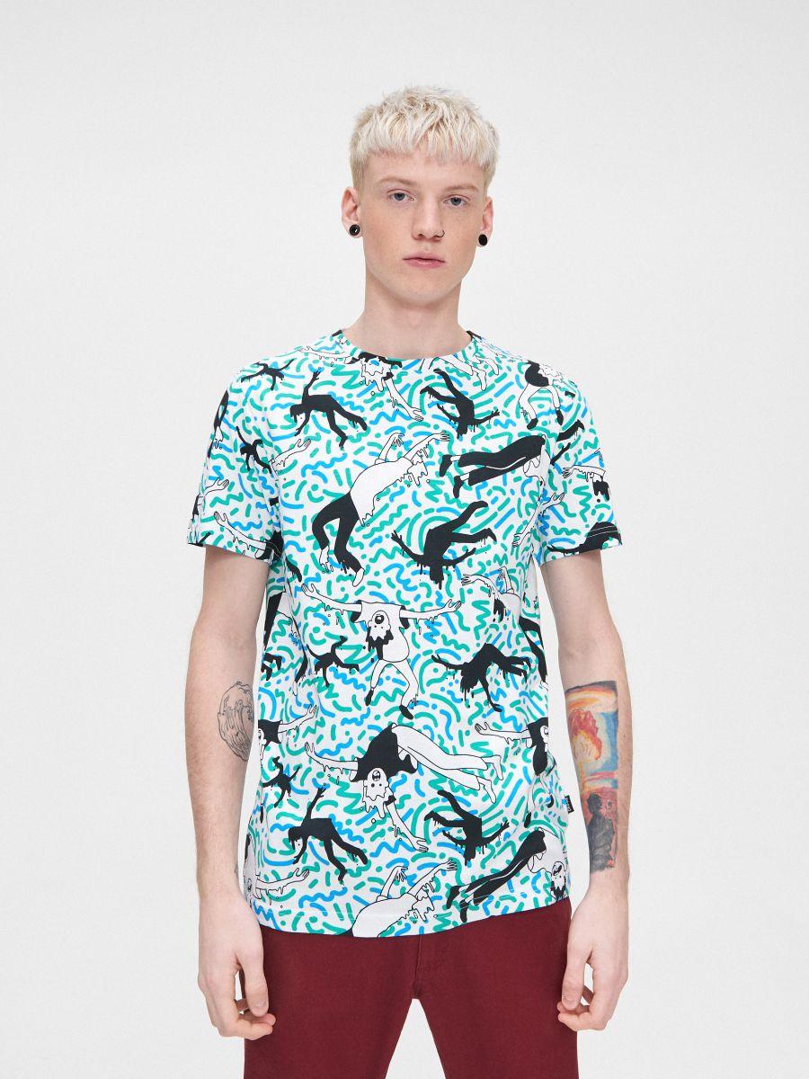 Koszulka z kolorowym nadrukiem - BIAŁY - YA996-00X - Cropp - 3