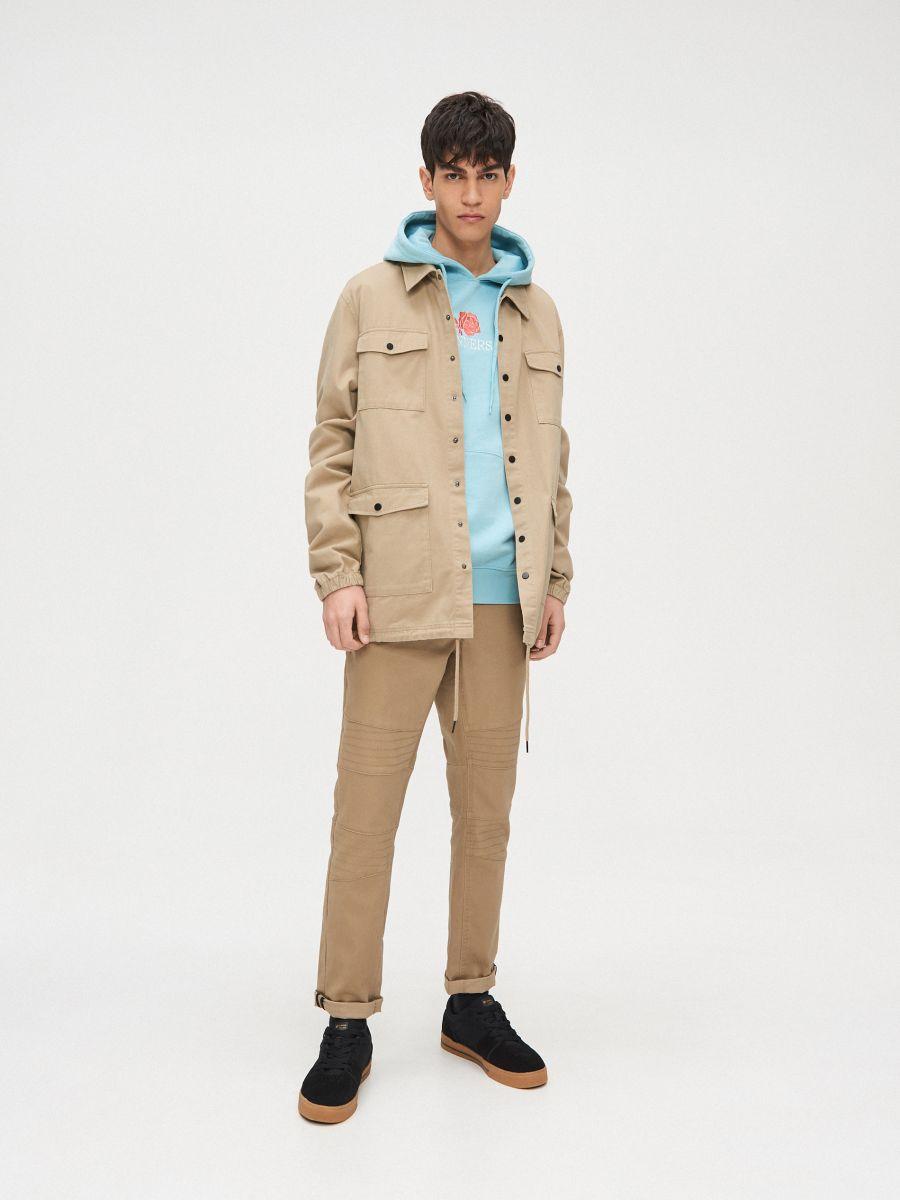 Bluza kangurka z kapturem - NIEBIESKI - YB733-50X - Cropp - 6