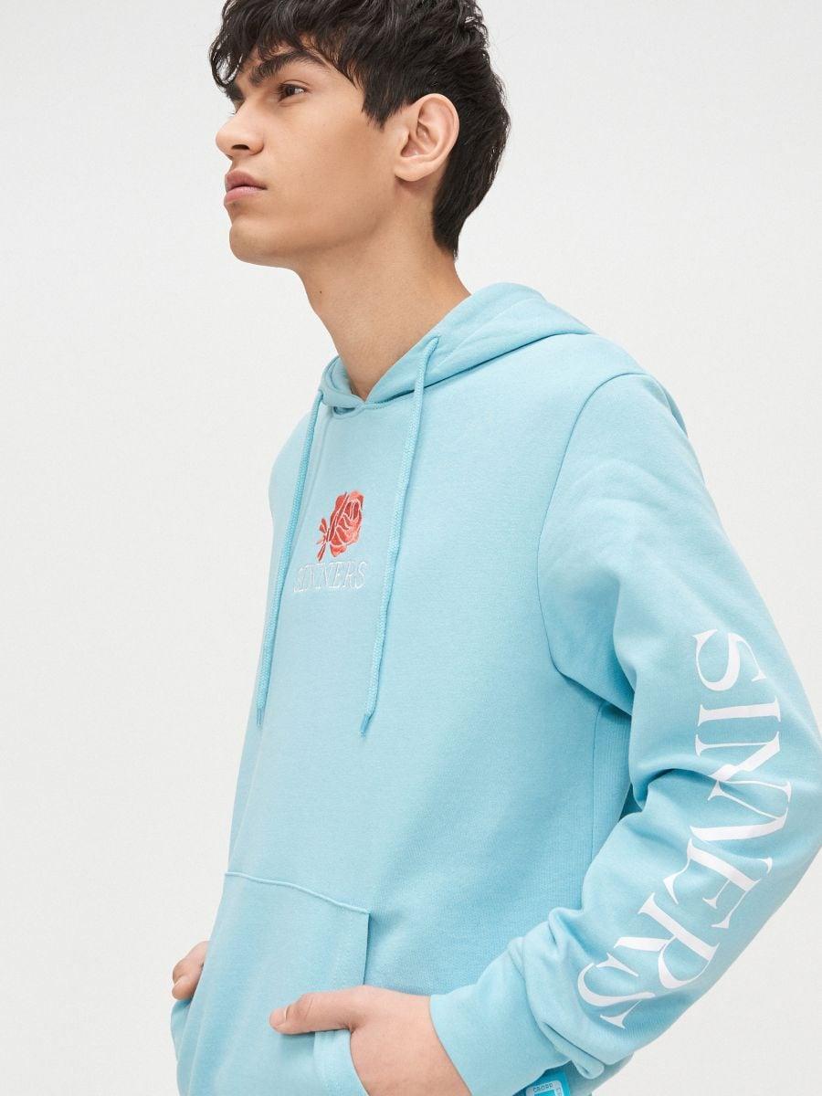 Bluza kangurka z kapturem - NIEBIESKI - YB733-50X - Cropp - 1