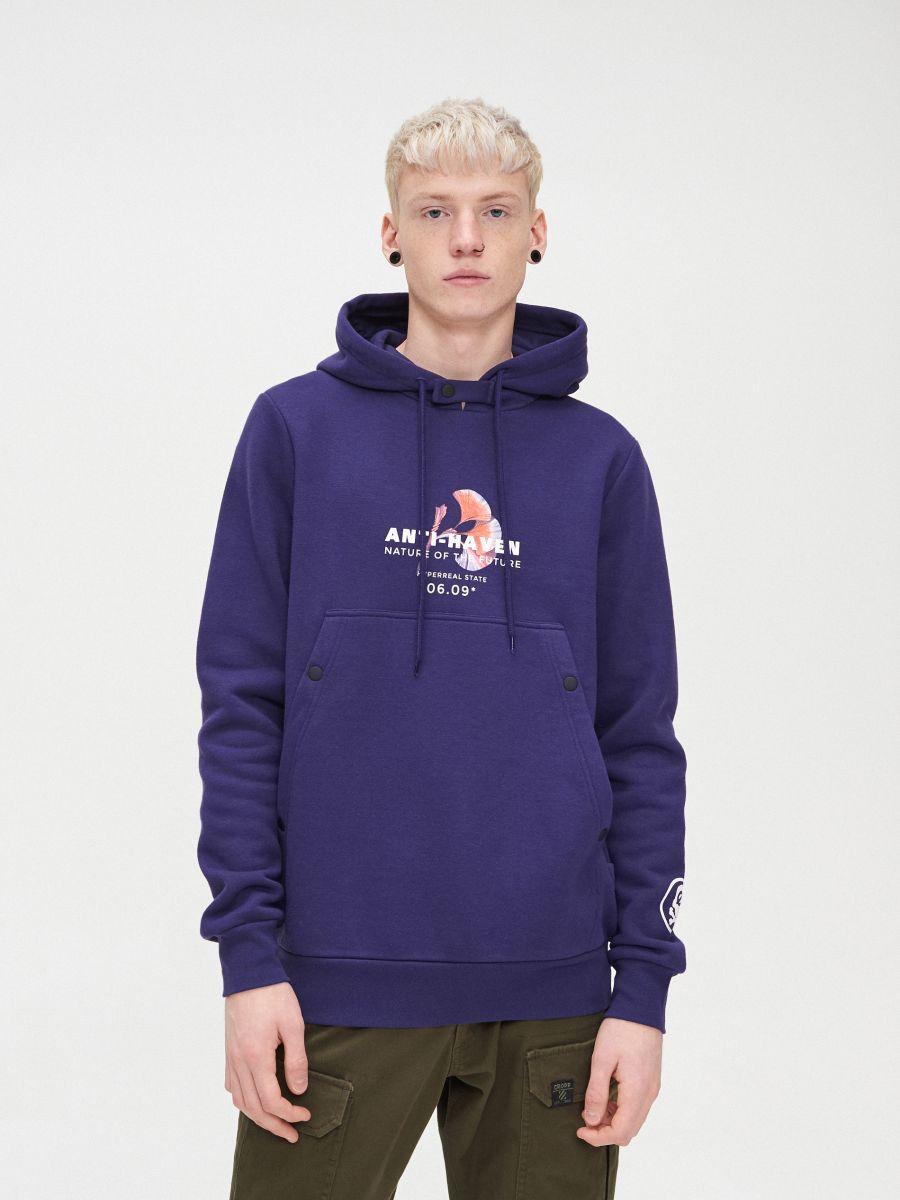 Bluza z kapturem - FIOLETOWY - YB745-45X - Cropp - 1