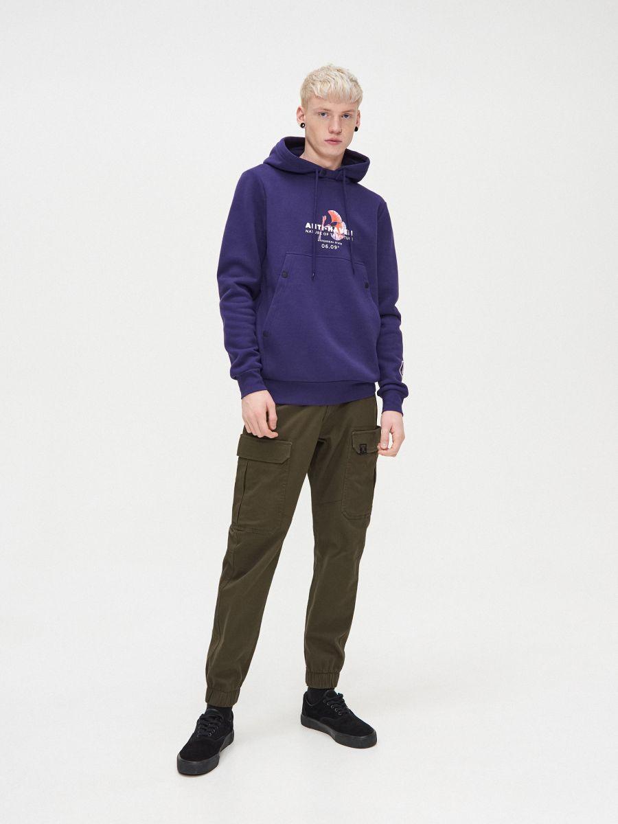 Bluza z kapturem - FIOLETOWY - YB745-45X - Cropp - 2