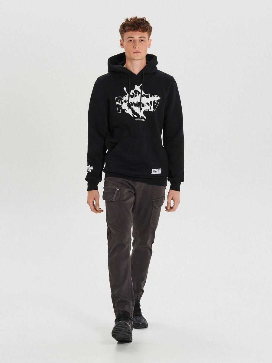 Bluza z nadrukiem Psycho - CZARNY - YC289-99X - Cropp - 2