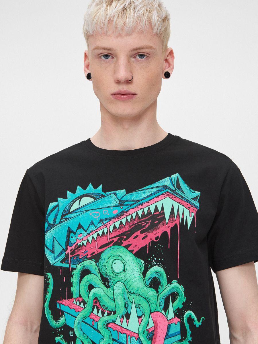 Koszulka z water printem - CZARNY - YD653-99X - Cropp - 1