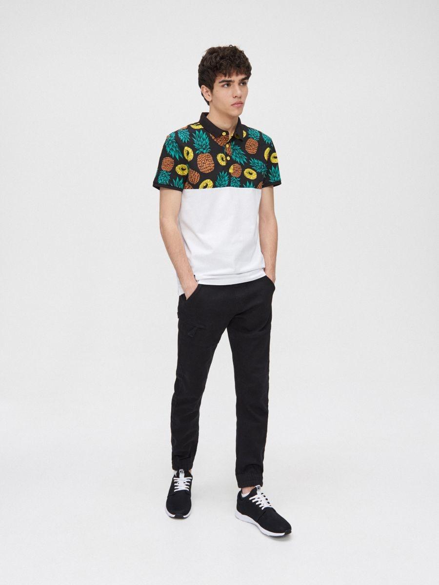 Koszulka polo w ananasy - BIAŁY - YD672-00X - Cropp - 1