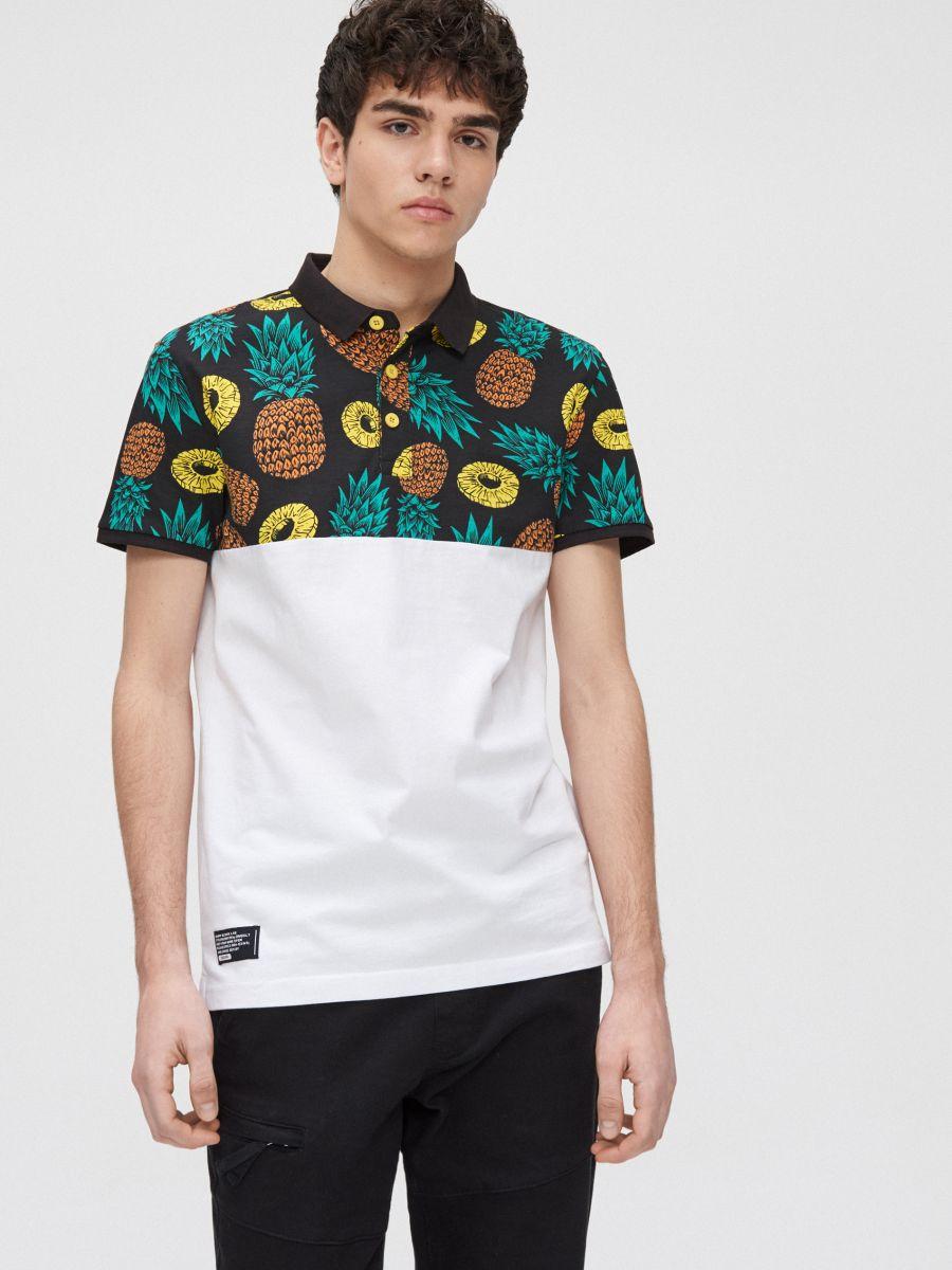 Koszulka polo w ananasy - BIAŁY - YD672-00X - Cropp - 3