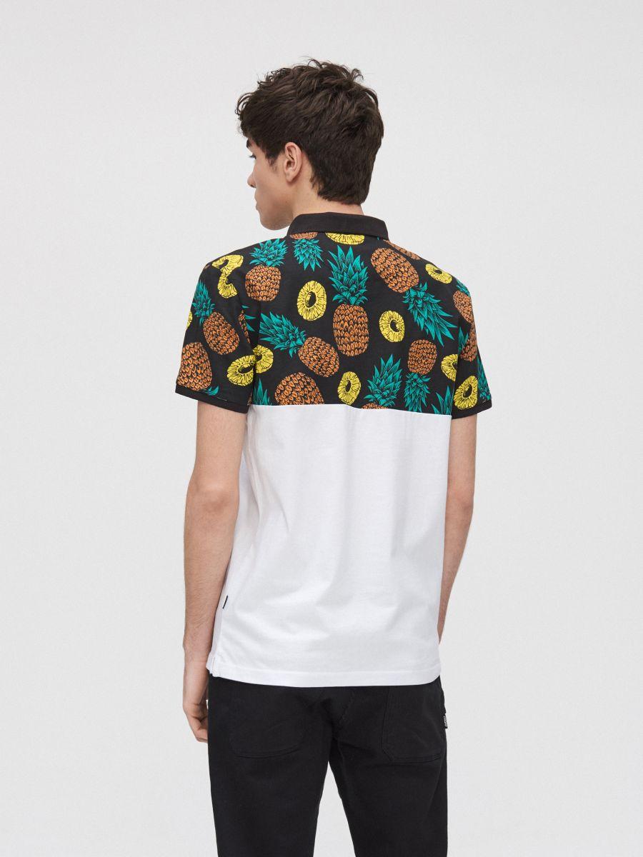 Koszulka polo w ananasy - BIAŁY - YD672-00X - Cropp - 4