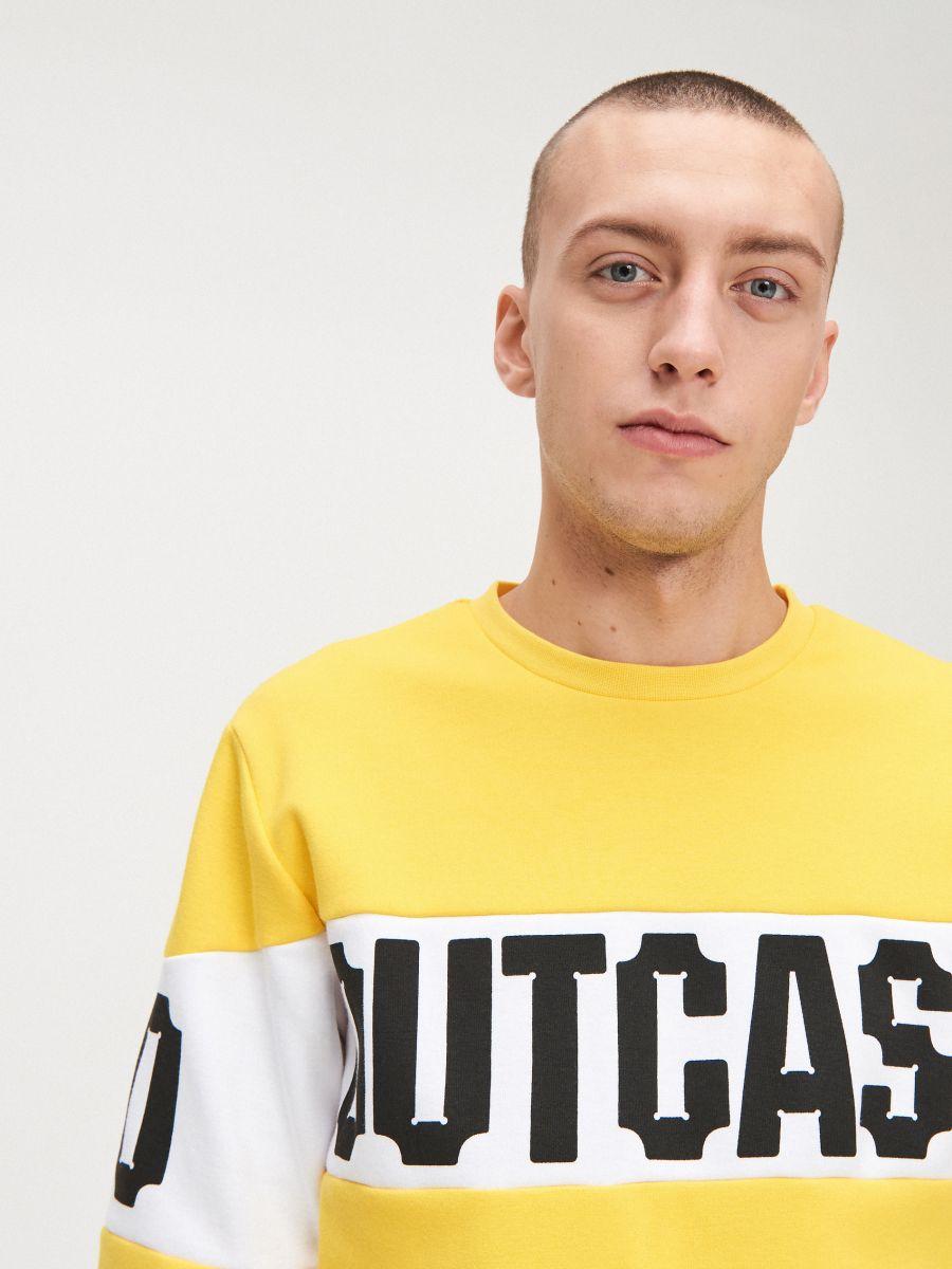 Bluza z kolorowym ściągaczem  - ŻÓŁTY - YD799-11X - Cropp - 2