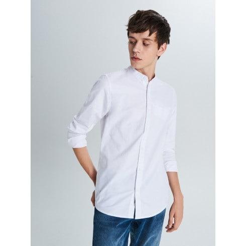 Gładka koszula typu collar band
