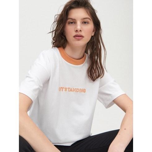 Bawełniana koszula oversize z napisem