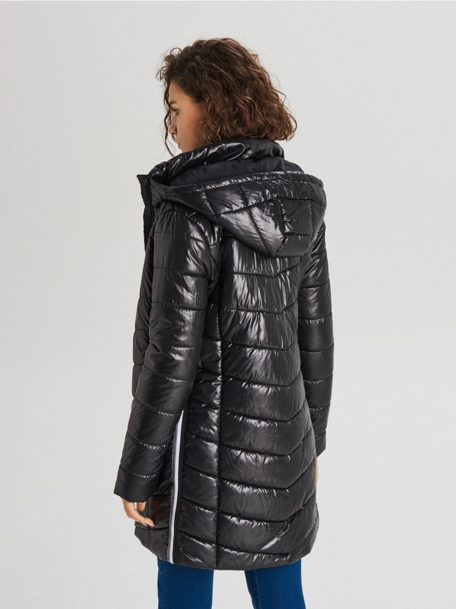 Стеганая куртка с капюшоном - черный - WB875-99X - Cropp - 4