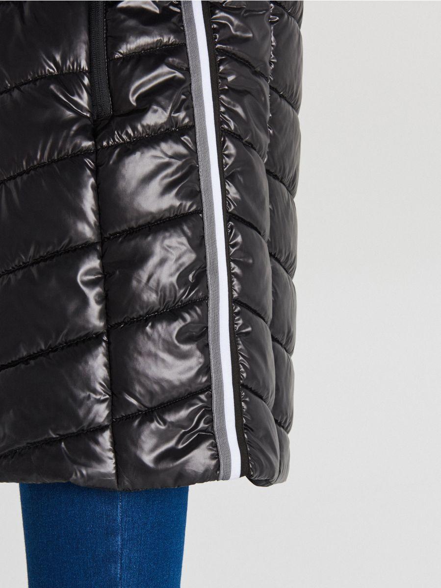 Стеганая куртка с капюшоном - черный - WB875-99X - Cropp - 5