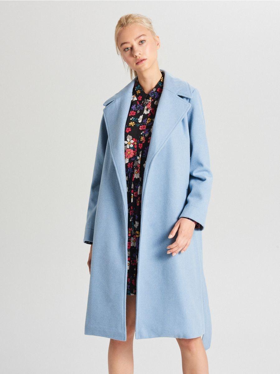 Классическое полушерстяное пальто - голубой - WB883-50X - Cropp - 6