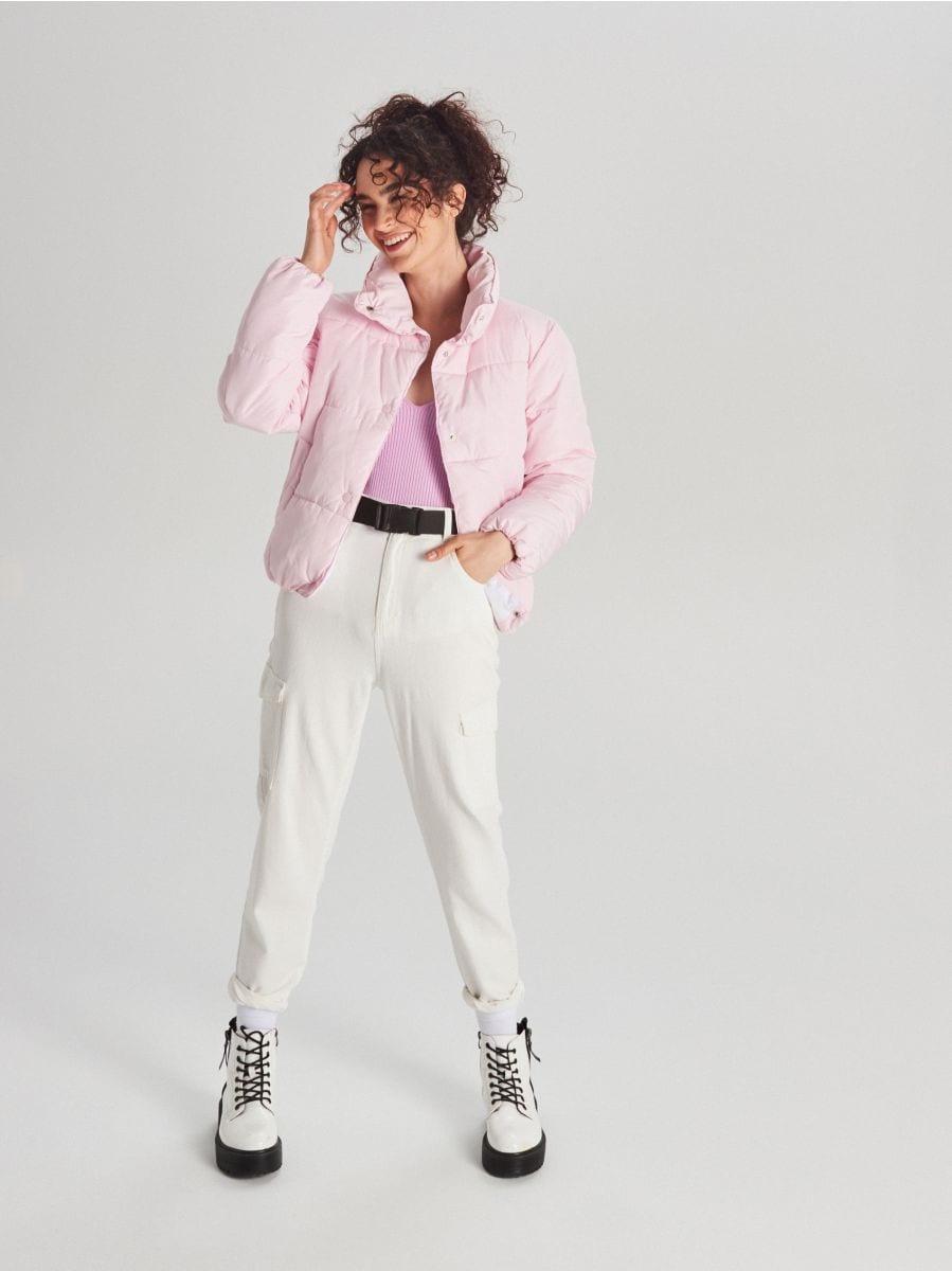 Стеганая куртка с воротником - розовый - WG280-03X - Cropp - 4