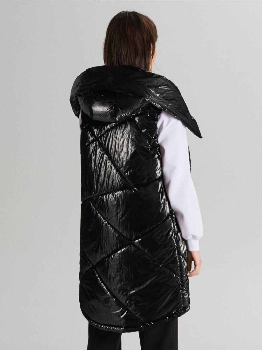 Удлиненный жилет из ткани с виниловым покрытием - черный - WG291-99X - Cropp - 4
