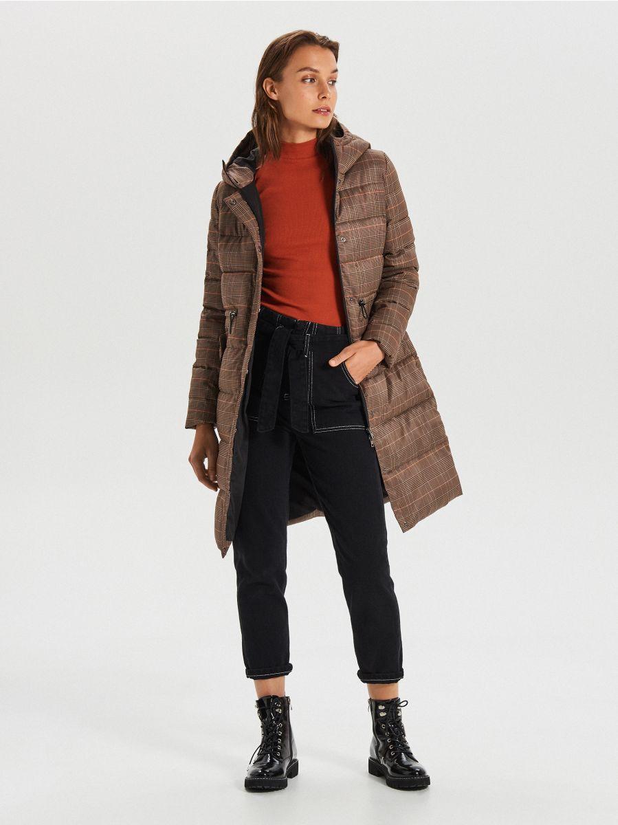 Стеганое пальто в клетку - бежевый - WS170-08X - Cropp - 2