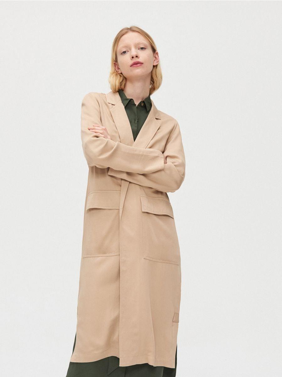 Длинное пальто - бежевый - XL556-08X - Cropp - 1
