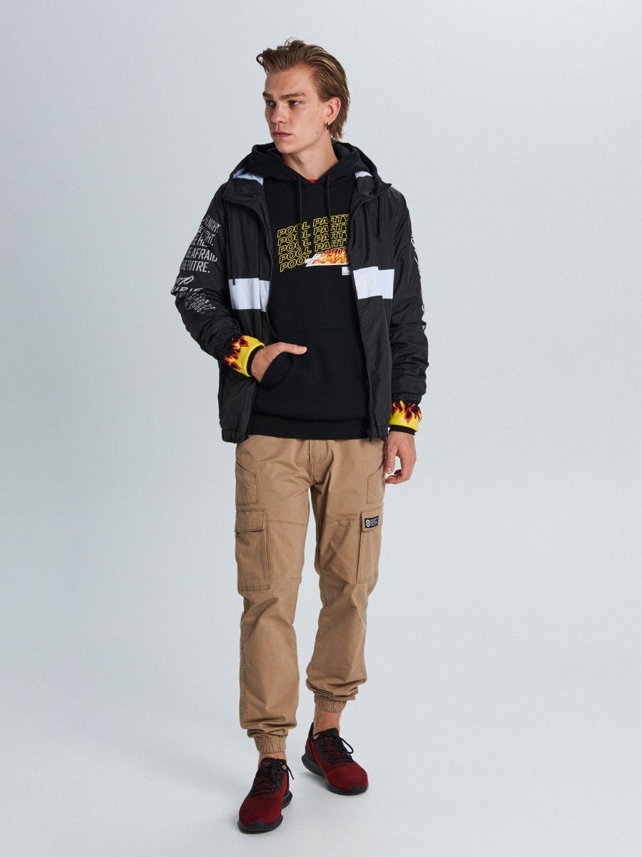 Куртка с капюшоном с надписями - черный - VW249-99X - Cropp - 1
