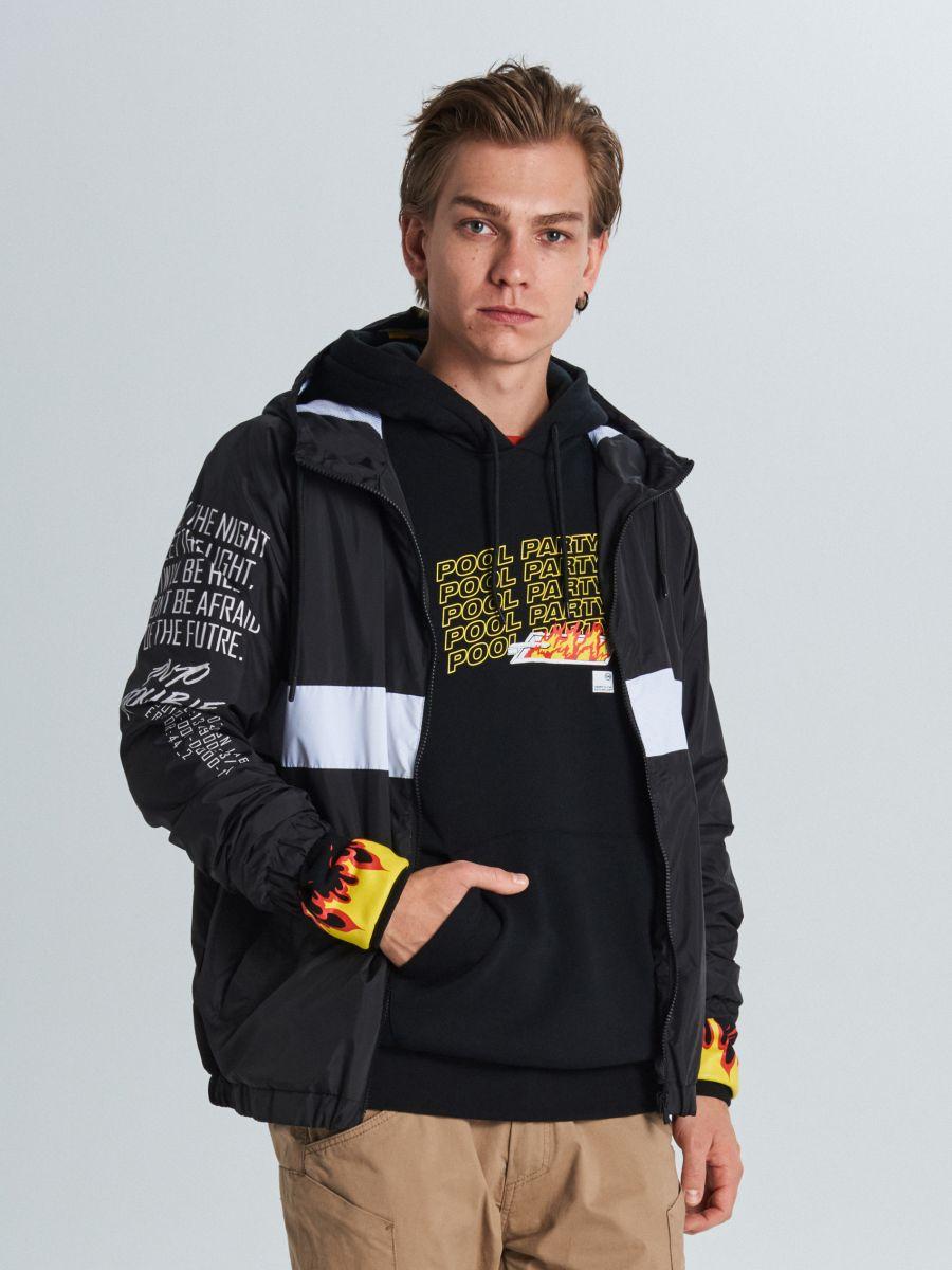 Куртка с капюшоном с надписями - черный - VW249-99X - Cropp - 3