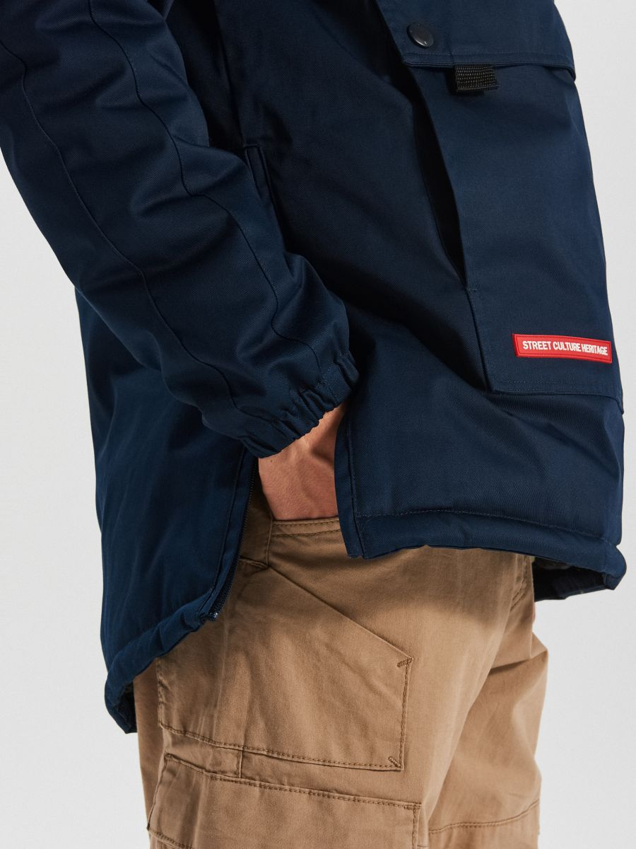 Зимний анорак с карманом - темно-синий - VW269-59X - Cropp - 4