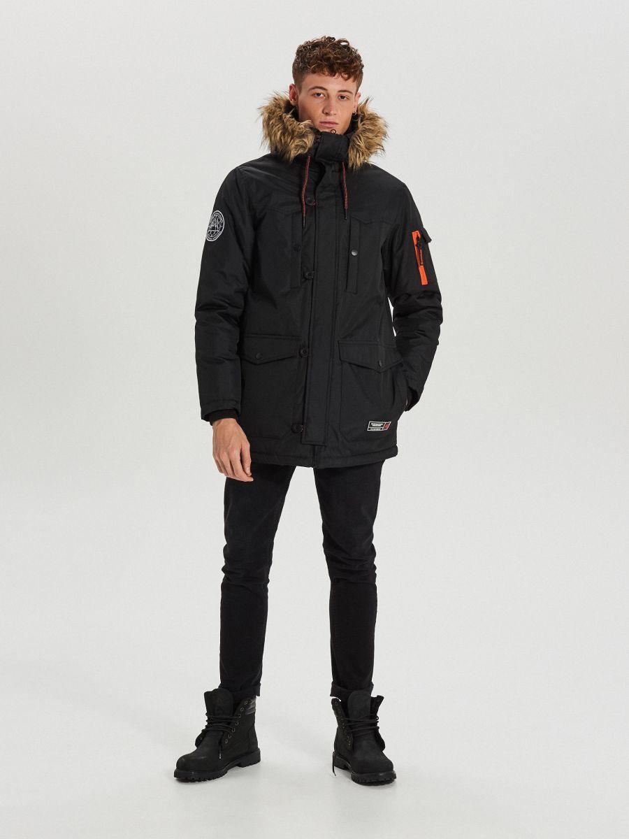 Зимняя куртка с капюшоном - черный - WA084-99X - Cropp - 2