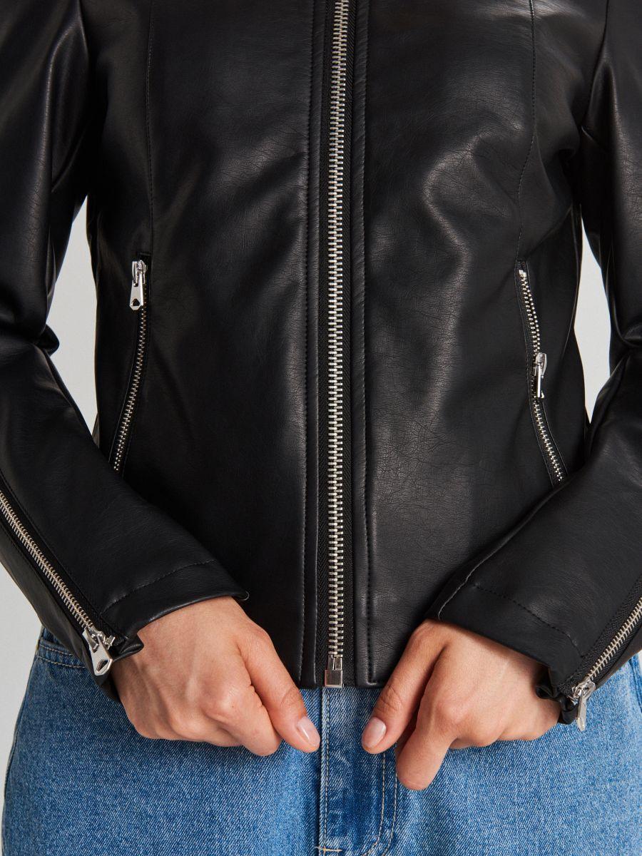 Байкерская куртка  - черный - WB859-99X - Cropp - 5